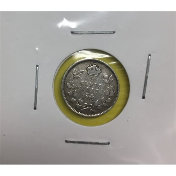 Canadian Silver Five Cents 1916