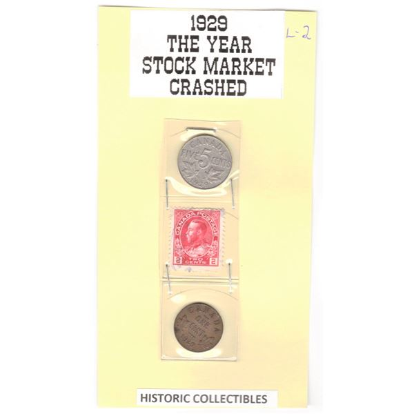 1929 Canadian Coins - One Cent & Five Cent
