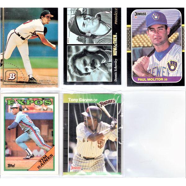 Baseball Cards - John Smoltz, Tim Raines, Dennis Eckersley, Tony Gwynn, Paul Leo Molitor