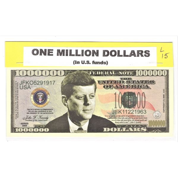 U.S. John F, Kennedy Million Dollar Banknote