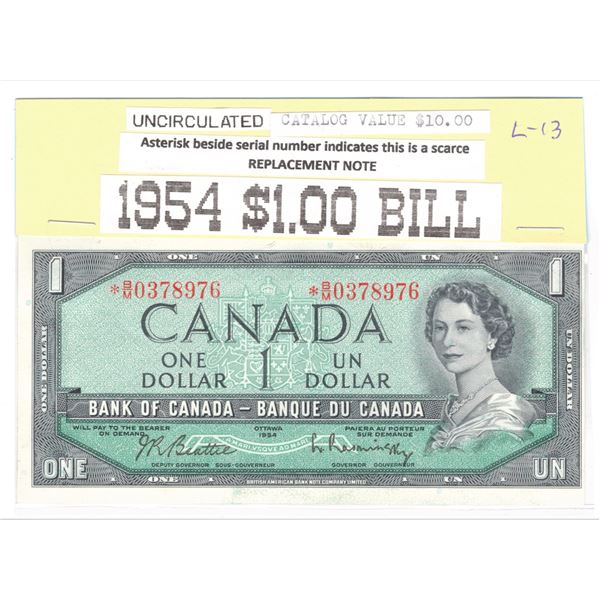 1954 Canadian $1 Banknote - Uncirculated Replacement Note