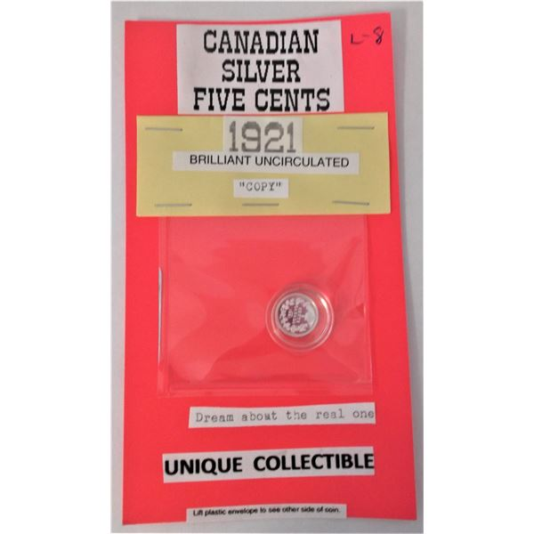 Canadian Silver Five Cents - 1921 COPY