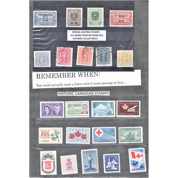 STAMPS - Nine Australian (Non Mint) and 13 Canadian (Mint)
