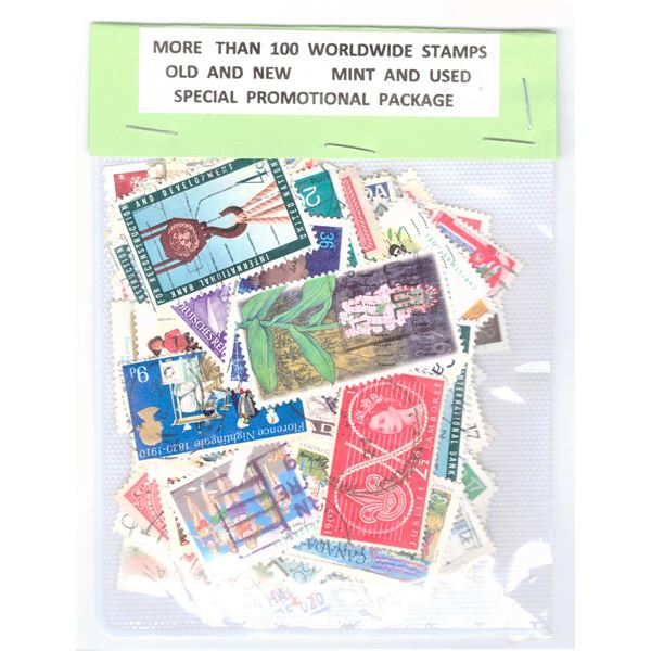 100 Stamps - Worldwide Mint and Used Condition