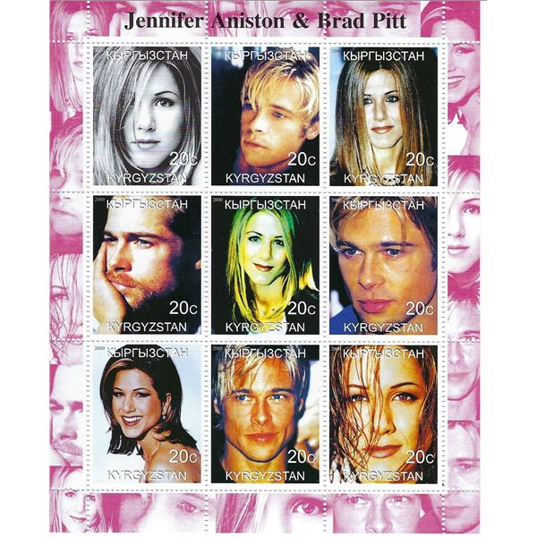 Jennifer Aniston & Brad Pitt - Kyrgyzstan - Cinderella Stamp Set