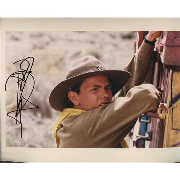 "River Phoenix. signed ""Indiana Jones and the Last Crusade"" movie photo"