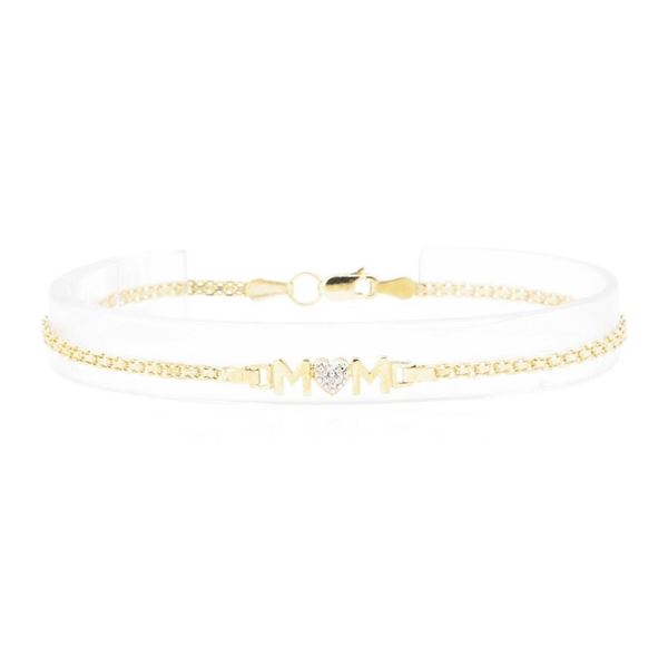 "0.01 ctw Diamond ""Mom"" Motif Bracelet - 10KT Yellow Gold"