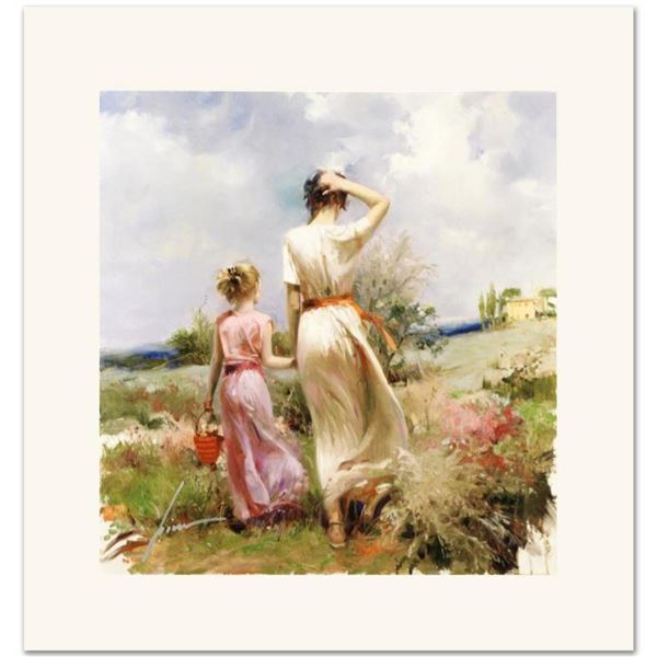 """Pino (1931-2010), """"Tuscan Stroll"""" Limited Edition on Canvas, Numbered and Hand S"""