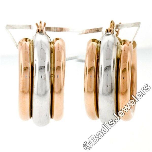New 14kt Rose & White Gold Triple Puffed Tube Round Hoop Earrings
