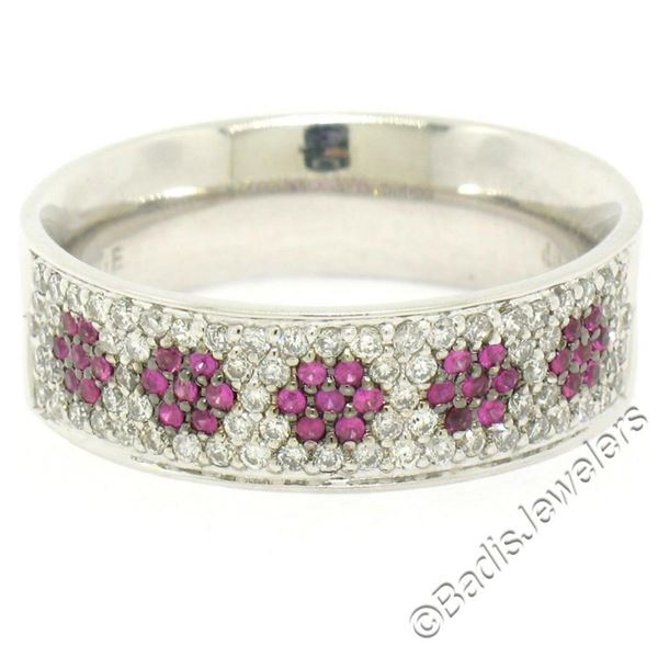 14k White Gold 0.85 ctw Pave Diamond Ruby 6.30mm Flower Cluster Band Ring