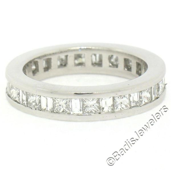 Platinum 1.45 ctw Channel Set Princess and Baguette Diamond Eternity Band Ring