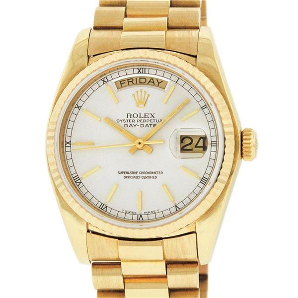 Rolex Mens 18K Yellow Gold Silver Index Quickset President Wristwatch With Rolex