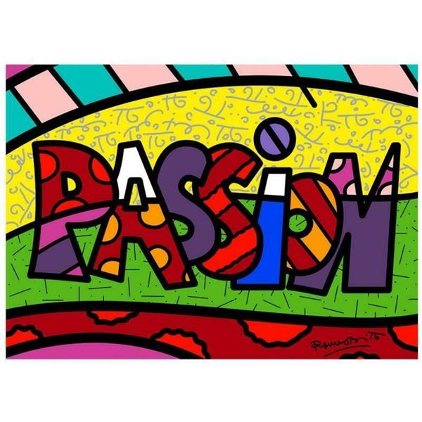 """Romero Britto """"Passion Mini Word"""" Hand Signed Giclee on Canvas; Authenticated"""