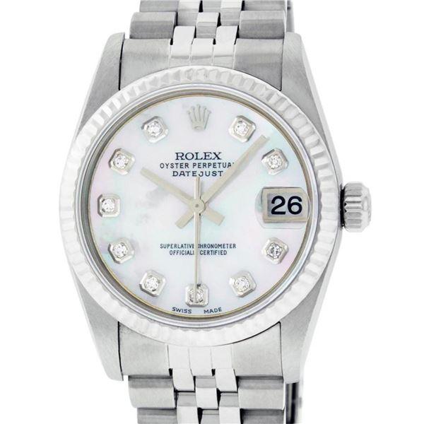 Rolex Womens Midsize Quickset 31mm MOP Diamond Stainless Steel Datejust Wriswatc
