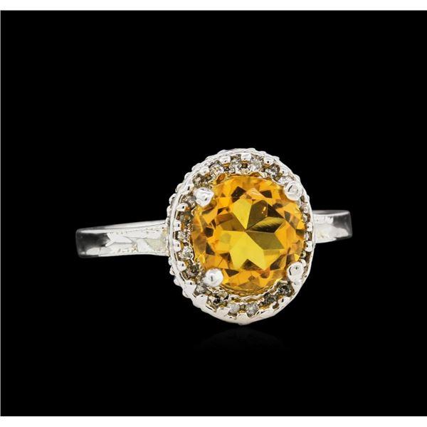 14KT White Gold 2.35 ctw Citrine and Diamond Ring