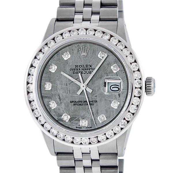 Rolex Mens Stainless Steel Meteorite 3 ctw Diamond Datejust 36MM Wristwatch