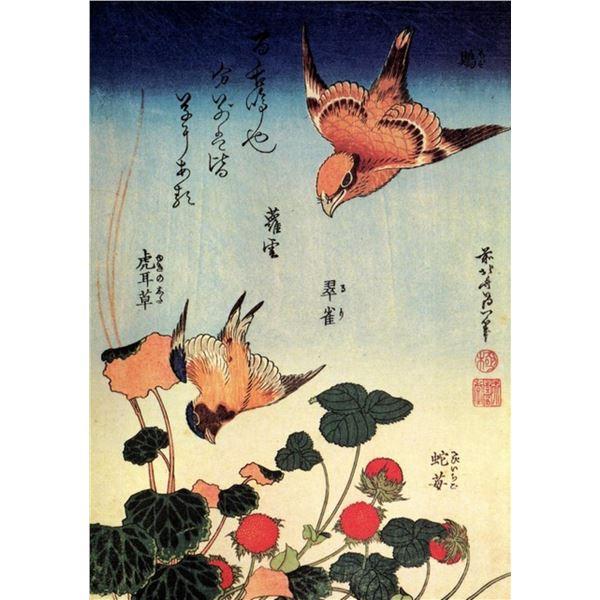 Hokusai - Wild Strawberries and Birds