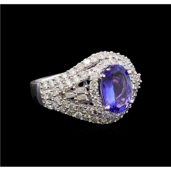14KT White Gold 1.50 ctw Tanzanite and Diamond Ring