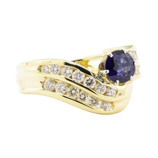 1.78 ctw Blue Sapphire And Diamond Ring - 14KT Yellow Gold