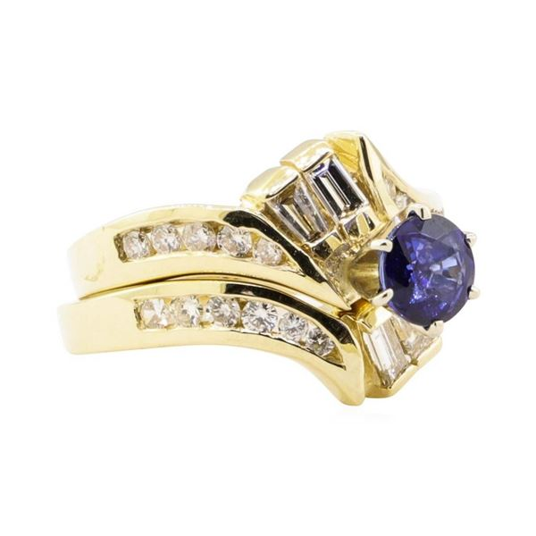 1.61 ctw Blue Sapphire And Diamond Ring And Band - 14KT Yellow Gold