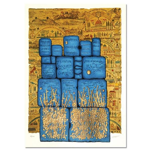 """Moshe Castel, """"Hakotel"""" Limited Edition Gold Embossed Serigraph with Letter of A"""
