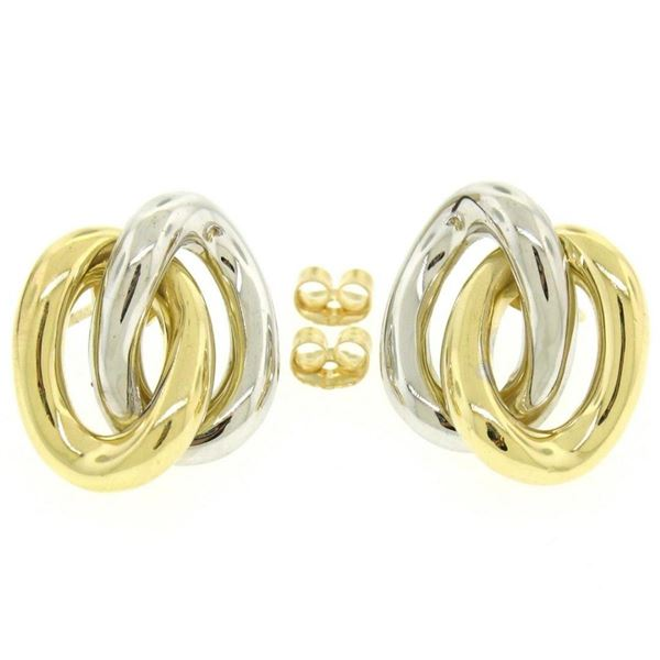 18K Two Tone Gold Stationary Dual Interlocking Oval Knot Stud Post Earrings 8.6g