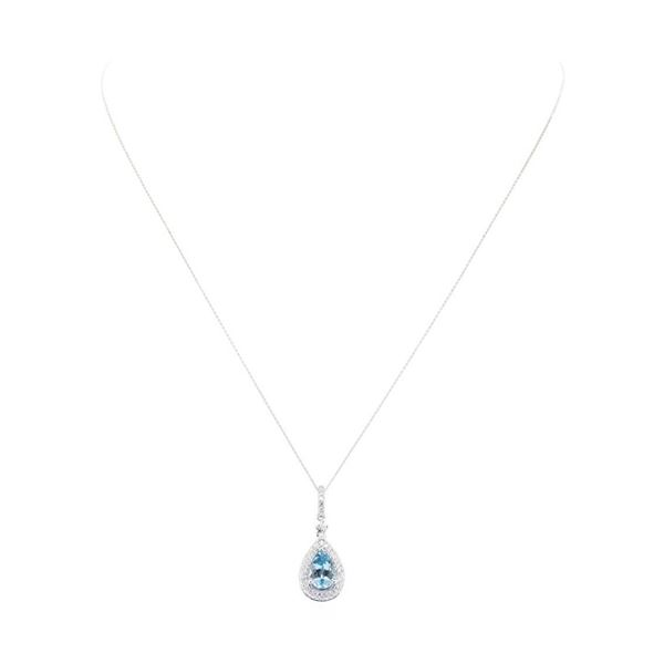 1.32 ctw Aquamarine and Diamond Pendant - 14KT White Gold