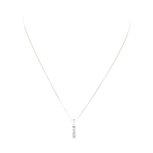 0.60 ctw Diamond Straight Line Pendant with Chain - 14KT White Gold
