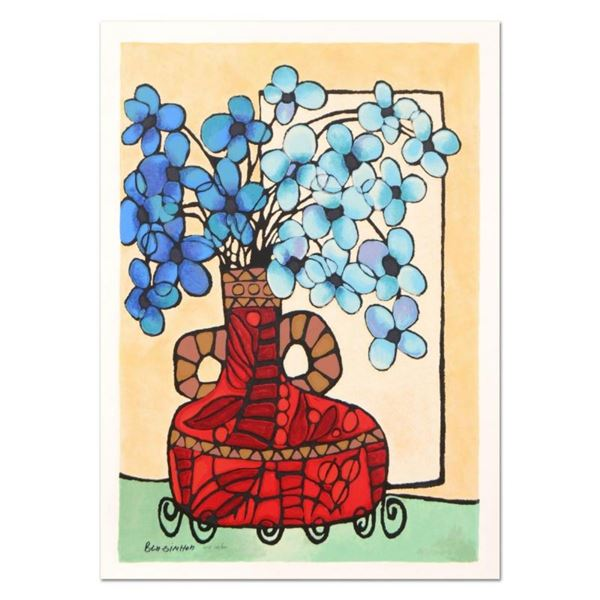 """Avi Ben-Simhon, """"Blue Flowers"""" Limited Edition Serigraph, Numbered and Hand Sign"""