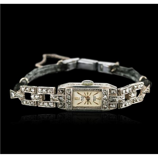 Art Deco 14KT White Gold Diamond Vintage Ladies Watch