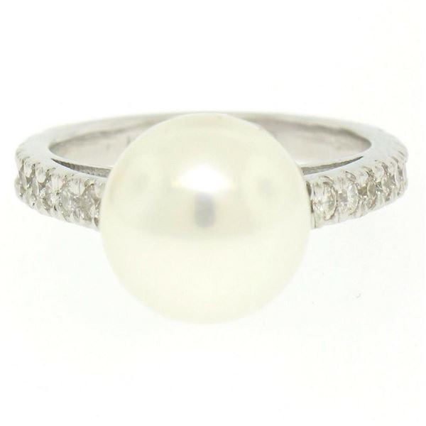 14k White Gold 10.6mm Akoya Pearl Ring w/ 0.54 ctw F VS Round Diamond Accents