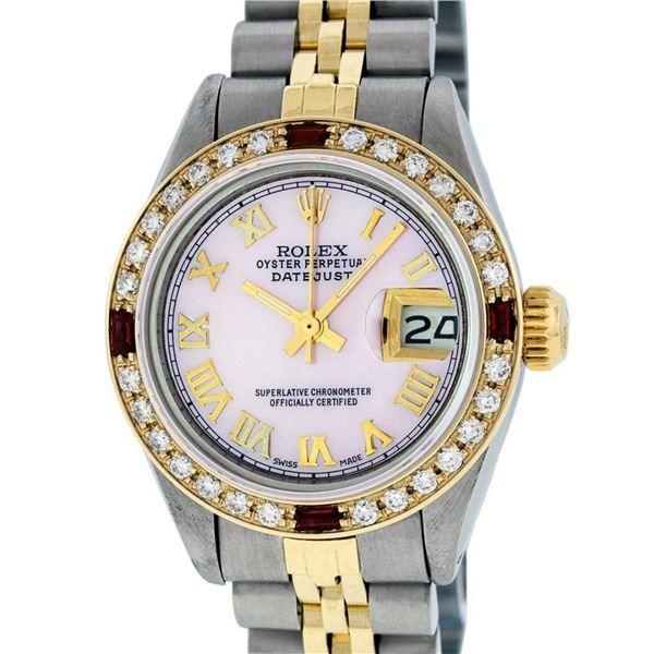 Rolex Ladies 2 Tone Pink MOP Diamond & Ruby Datejust Wristwatch