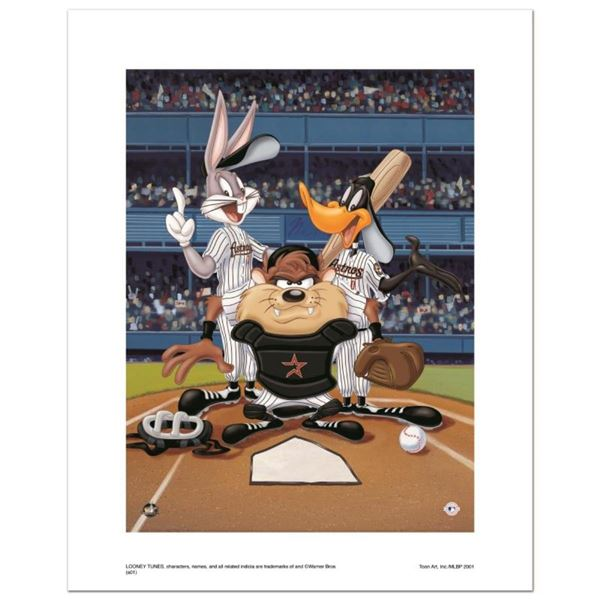 """""""At the Plate (Astros)"""" Numbered Limited Edition Giclee from Warner Bros. with C"""