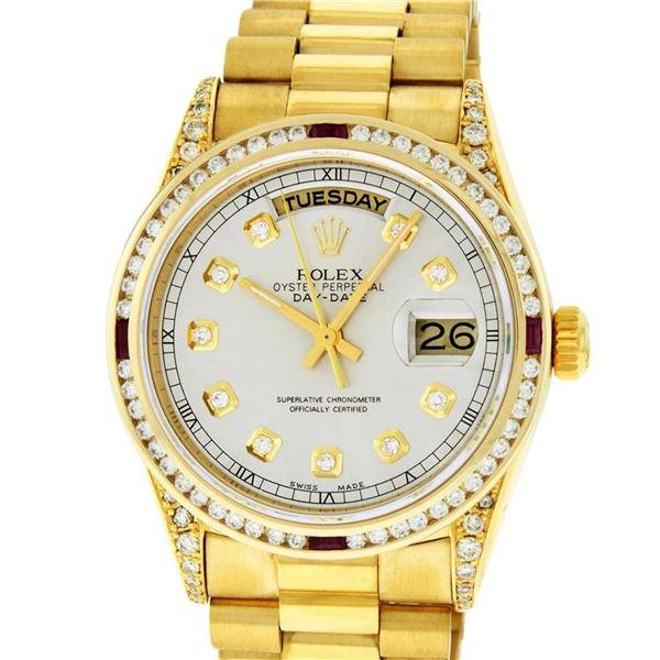 Rolex Mens 18K Yellow Silver Diamond Lugs President Wristwatch With Rolex Box &