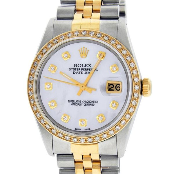 Rolex Mens 2 Tone Mother Of Pearl Diamond 36MM Oyster Perpetaul Datejust