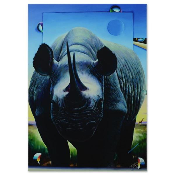 """Ferjo, """"Rhino on the Move"""" Limited Edition on Gallery Wrapped Canvas, Numbered a"""