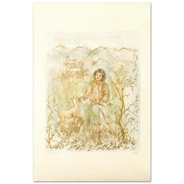 """""""The Forest Friend"""" Limited Edition Lithograph by Edna Hibel (1917-2014), Number"""
