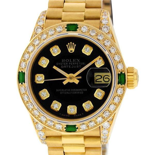 Rolex Ladies 18K Yellow Gold Black Diamond And Emerald President With Rolex Box