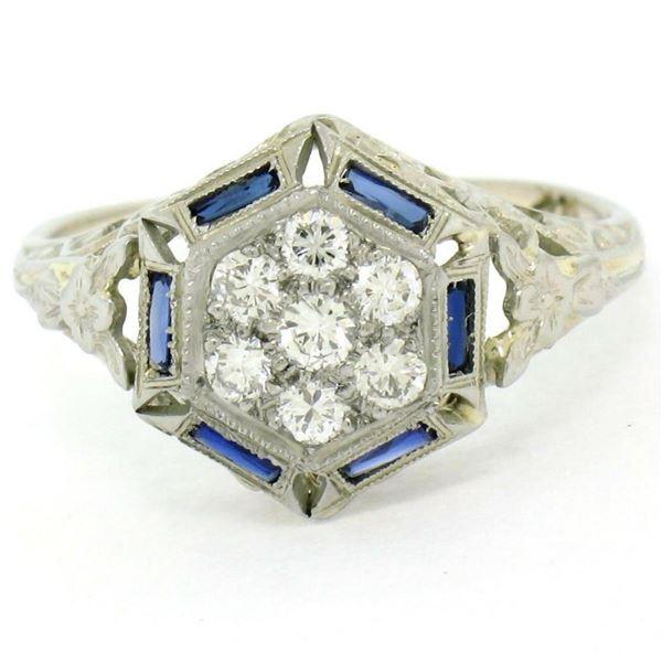 Antique Art Deco 18K White Gold 0.40 ctw Diamond & Sapphire Cluster Filigree Rin