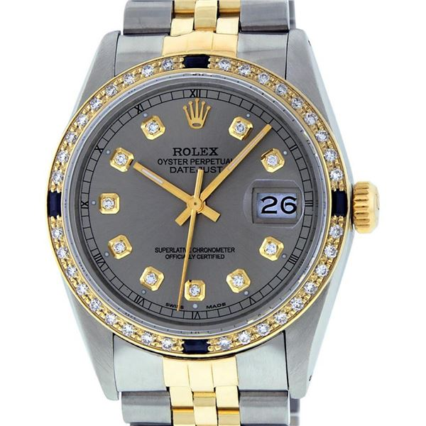 Rolex Mens 2 Tone Slate Grey Diamond & Sapphire 36MM Oyster Perpetaul Datejust