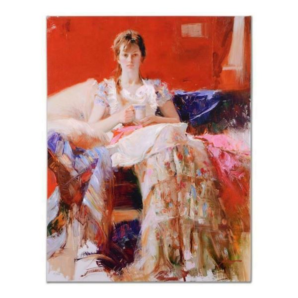 """Pino (1939-2010), """"Afternoon Tea"""" Artist Embellished Limited Edition on Canvas,"""