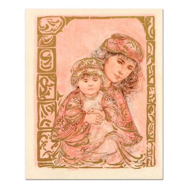 """Edna Hibel (1917-2014), """"Valentine and Kore"""" Limited Edition Lithograph on Rice"""