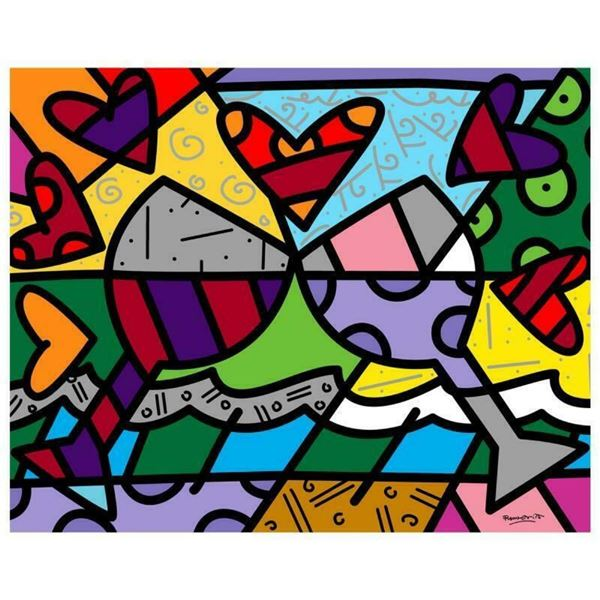 """Romero Britto """"Toast To Love Glasses"""" Hand Signed Limited Edition Giclee on Canv"""