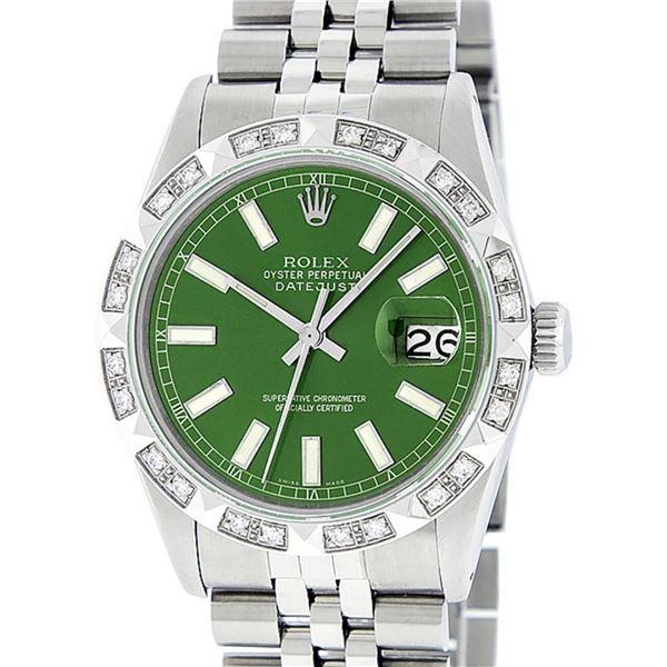 Rolex Mens Stainless Steel 36MM Green Index Pyramid Diamond Datejust Wristwatch