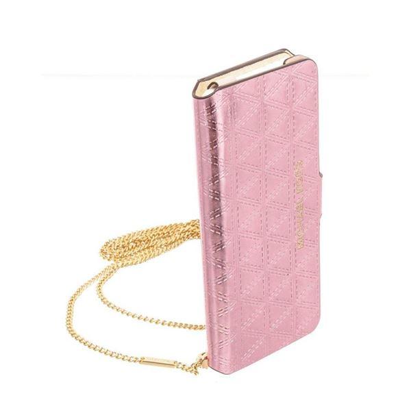 Michael Kors Metallic Pink Leather Iphone 7 Folio Case