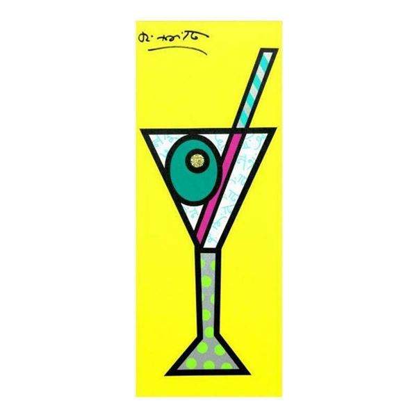 """Romero Britto """"Yellow Martini"""" Hand Signed Limited Edition Giclee on Canvas; Aut"""