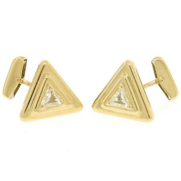 French 18k Yellow Gold Marina B 1.20 ctw FANCY Yellow Trillion Diamond Cuff Link