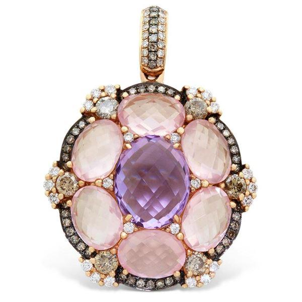 18k Rose Gold  10.30 ctw Amethys and Rose Quartz and Brown Diamonds Pendant