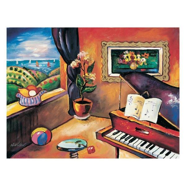 """Oleg Nikulov, """"Piano with Countryside View"""" Hand Signed Limited Edition Giclee o"""