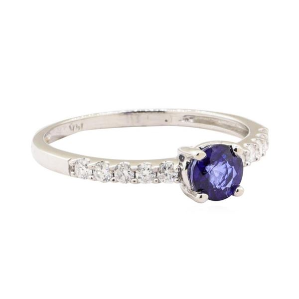 0.90 ctw Blue Sapphire and Diamond Ring - 14KT White Gold